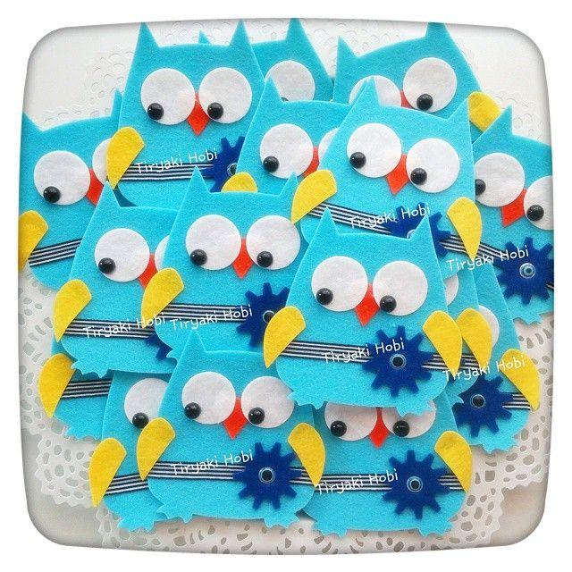 ♥ Tiryaki Hobi ♥: Keçe bebek şekeri / doğumgünü magneti - baykuş (EMİR)  --------  felt owls