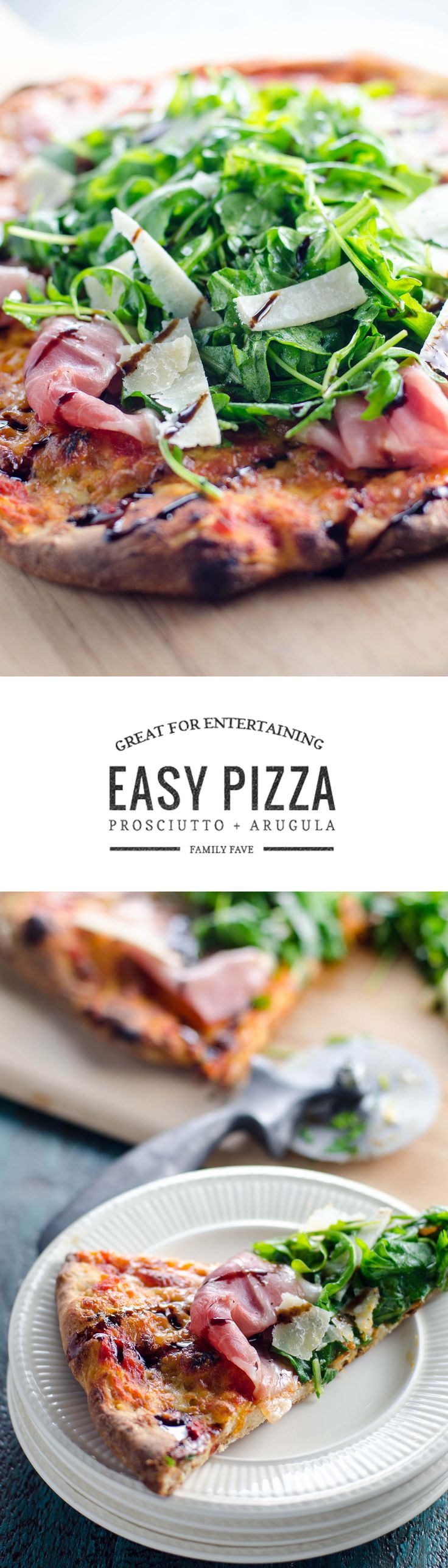 Prosciutto arugula pizza with shards of savory parmesan and a sweet balsamic drizzle looks impressive but is one of the easiest pizzas to make. Win win!