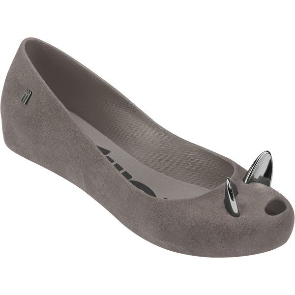 Melissa Ultragirl Cat Grey ($120) ❤ liked on Polyvore featuring shoes, flats, cat flats, metallic shoes, cat flat shoes, peep toe flat shoes and animal flats