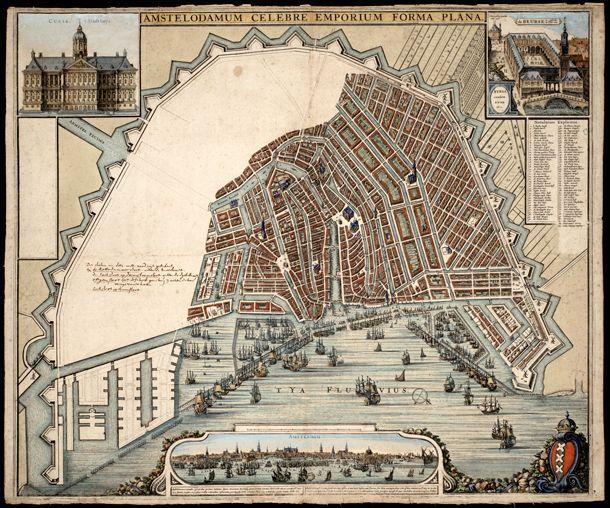 In 2011 werd deze plattegrond van Amsterdam uit 1660 ontdekt. De lege strook was voor de beoogde stadsuitbreiding