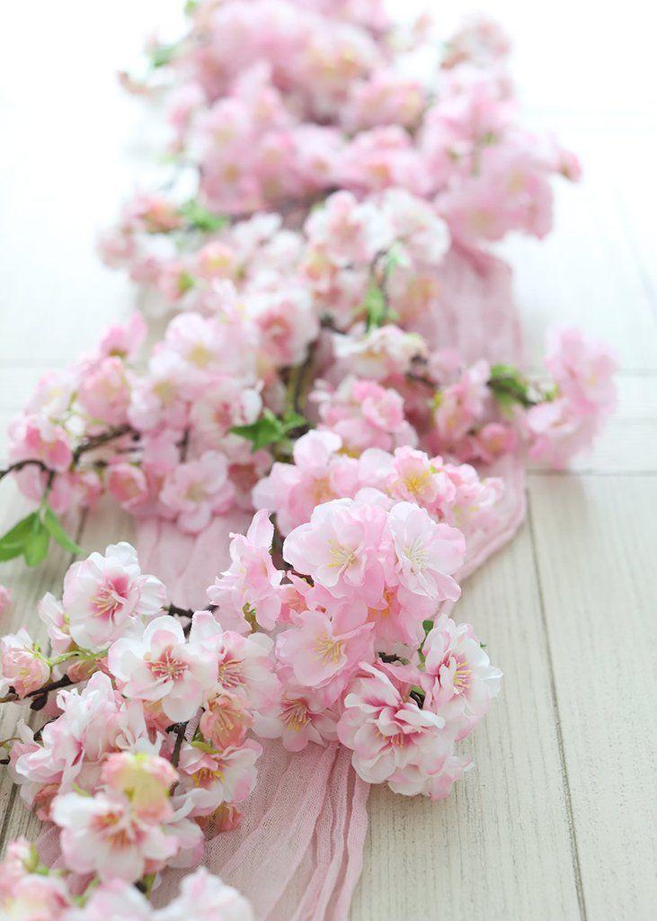 Artificial Pink Cherry Blossom Flower Garland 4 Long Cherry Blossom Decor Flower Decorations Flower Garland Diy