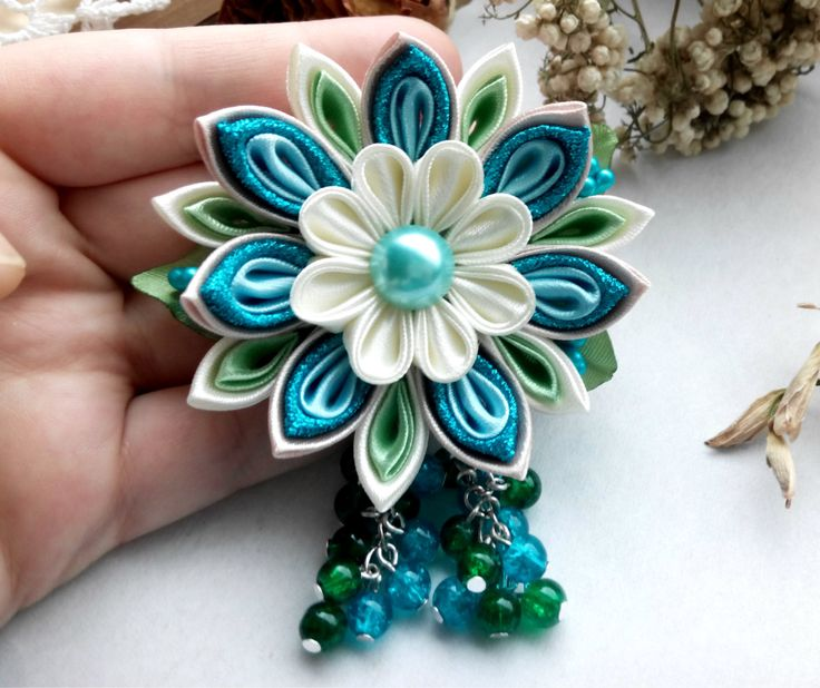 Kanzashi hair clip with beads/Kanzashi flower/Kanzashi hair clip/Hair clip for…
