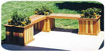 Deck Bench Plans with planters   Planters, Woodworking Plans and Patterns by WoodcraftPlans.com