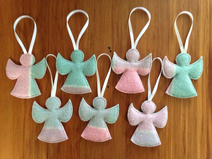 Angel ornaments made from old woollen blankets