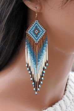 Seed Bead Quill Earrings - Swarovski and Porcupine Quill Earrings - Long Beaded Earrings - Copper & Teal Beadwork - Tribal Style