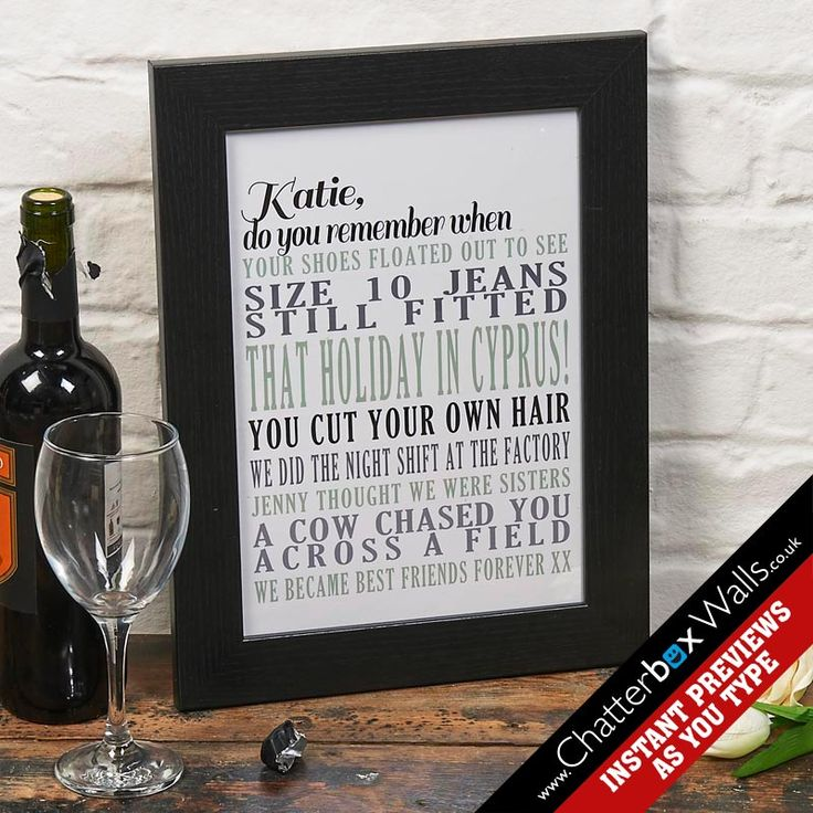 Personalised memory typographic art print in frame