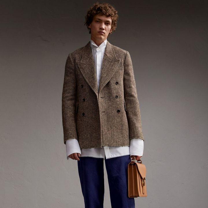 Burberry Donegal Herringbone Wool Tweed Blazer
