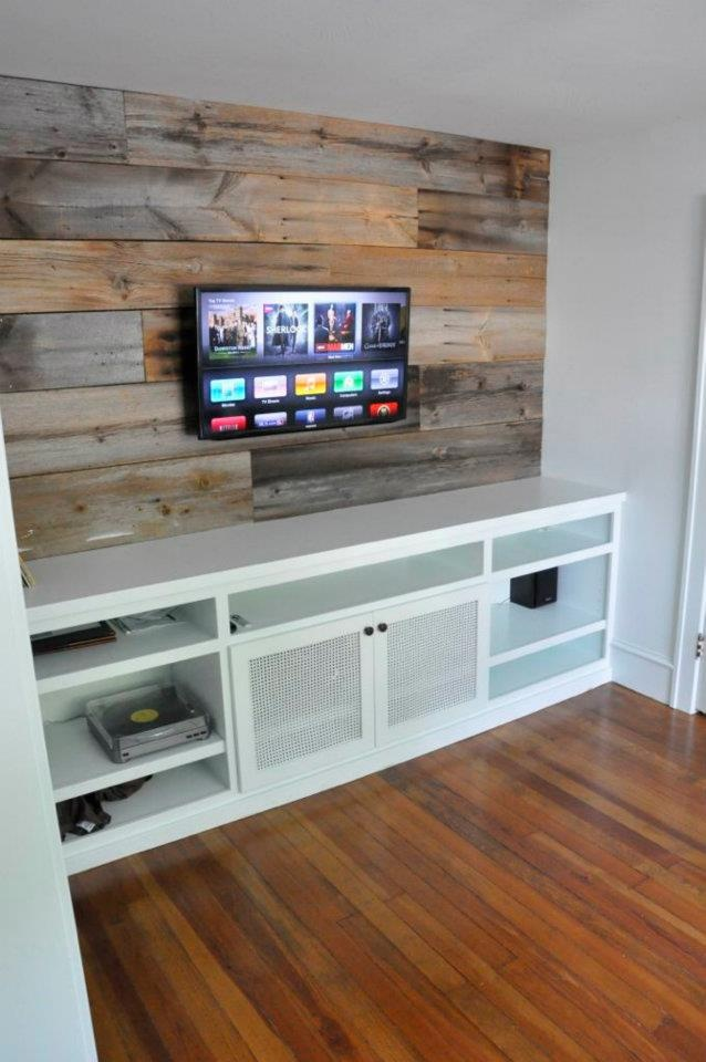 Media Built In With Barn Wood Paneling Western Decor