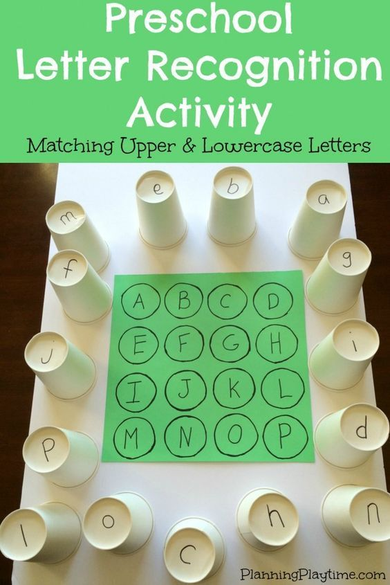 Letter Recognition Activities - Matching Upper and Lowercase Letters using paper cups, and lots of other fun activities.  There are several really good ideas for centers here that would be perfect for students with special learning needs.  Read more at:  http://planningplaytime.com/2016/01/preschool-letter-recognition-activities.html