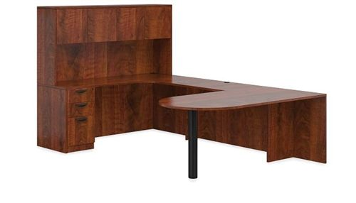Offices To Go Peninsula Style U Desk Layout with Hutch in Dark Cherry