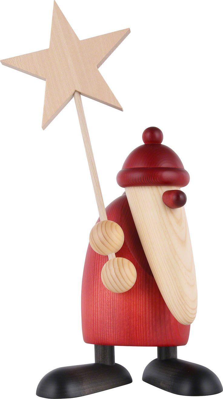 Weihnachtsmannfigur aus Holz aus dem Erzgebirge