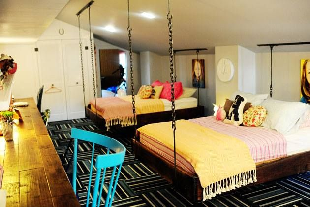 Hanging beds for a teenager's room