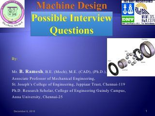 Machine design possible interview questions