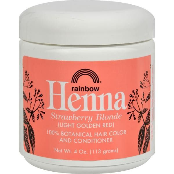 Rainbow Henna 100% Botanical Hair Color and Conditioner - Strawberry Blonde Light Golden Red - 4 oz
