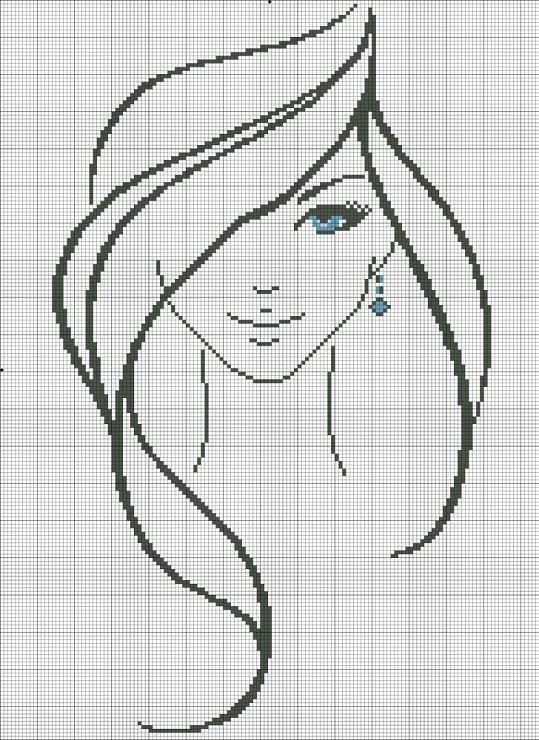 point de croix silhouette visage de fille aux yeux bleus - Cross Stitch girl's face with blue eyes