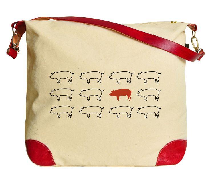 Pop Art Pig Beige Printed Canvas Tote Bag Shoulder Bag Was_33