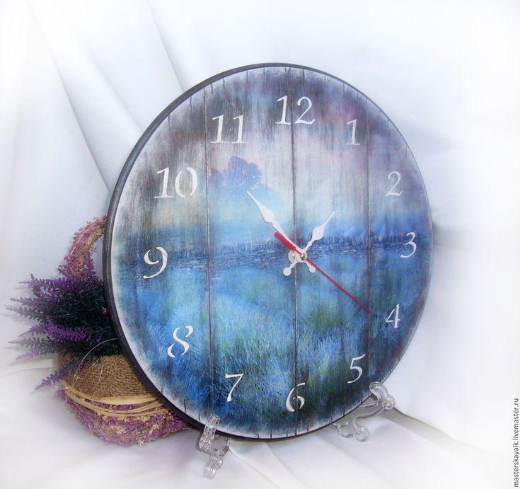 """Купить Часы настенные большие """"Прованс"""" - голубой, часы, часы настенные, часы интерьерные"""