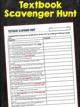 Textbook Scavenger Hunt Worksheet                              …