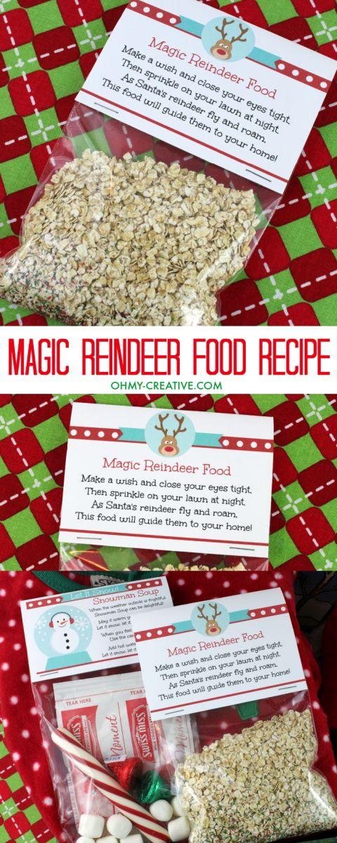 Help guide Santa's sleigh on Christmas Eve with this fun Magic Reindeer Food Recipe! Cool printable too! | OHMY-CREATIVE.COM