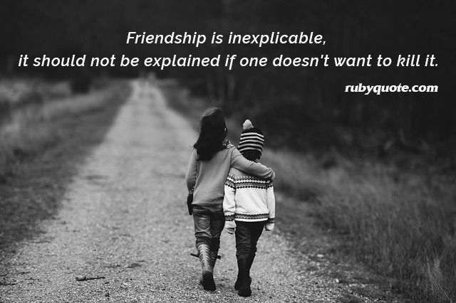 Friendship is inexplicable, it should not be explained if one doesn't want to kill it.