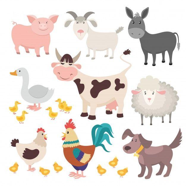 Farm Animals Pig Donkey Cow Sheep Goose Rooster Dog Cartoon Kids Animal Isolated Set Animals For Kids Farm Animal Painting Cartoon Dog