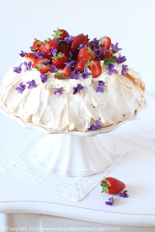 Every Cake You Bake: Violet Pavlova with Strawberries