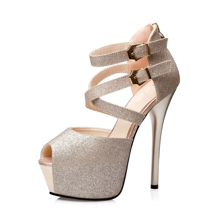 2017 Golden Silver Shiny Leather Sandal Ladies Pumps Cross Buckle Strap High Heels