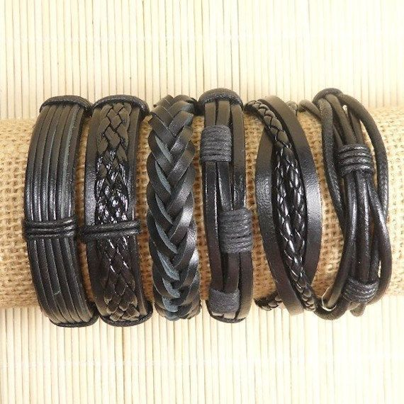 Leather Bracelets 6 Piece Mens Bracelets by BraceletStreetUSA