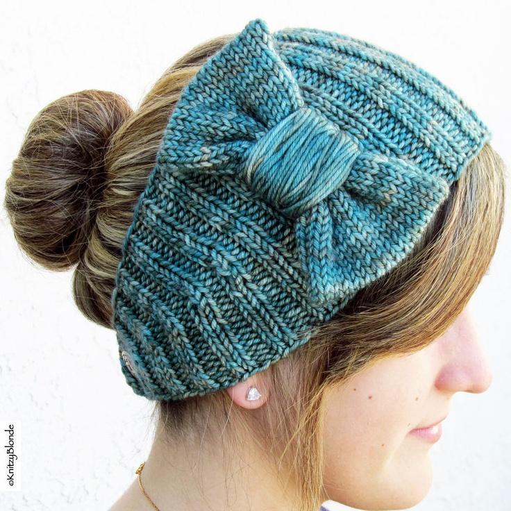 Hand Knit Bow Headband, Cashmere Merino Wool, Celtic Knot Button, Aqua Blue G...