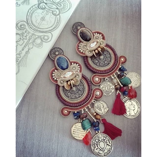 """Mercanti"" Huge version. #adelslaboratory #alessandradelvitto #adeloriginal #costumejewelry #bijoux #gioielleriaalternativa #accessori #soutache #soutacheearrings #earrings #orecchini #mercanti #fashion #fashionblogger #fashionjewelry #fashiondesigner #d 