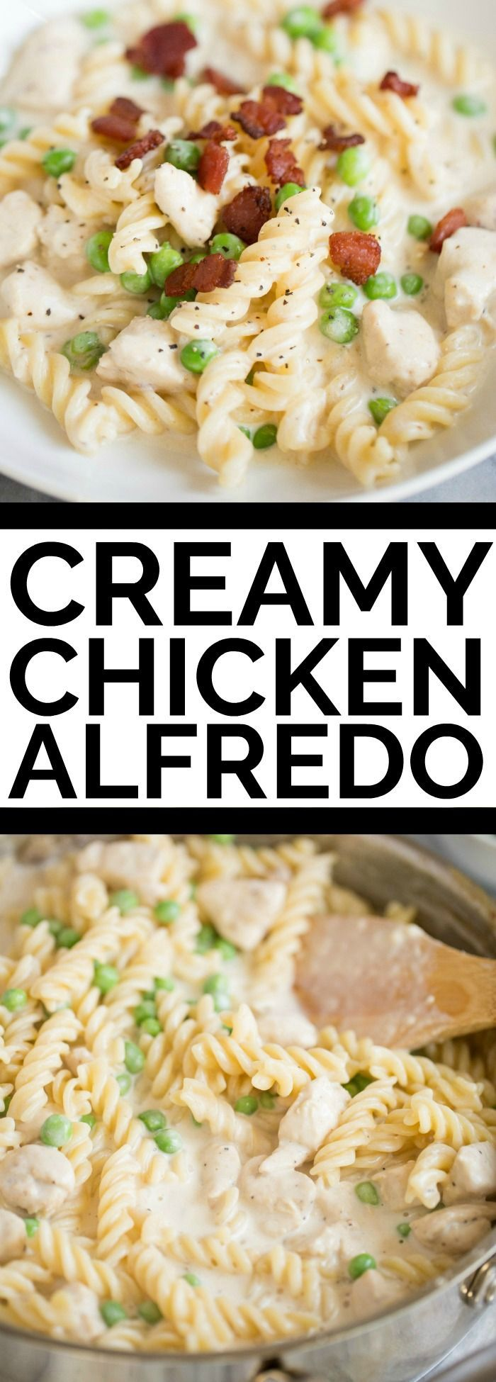 One-Pot Chicken Cheese Alfredo with Bacon and Peas