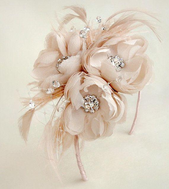 Blush Silk Chiffon Crystal Quartz Jeweled & by EmiciBridal on Etsy, $150.00