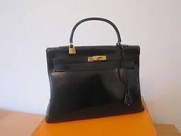 Bon Plan sur 123luxe.fr : Sac à main Hermès - modèle Kelly - Cuir - Noir
