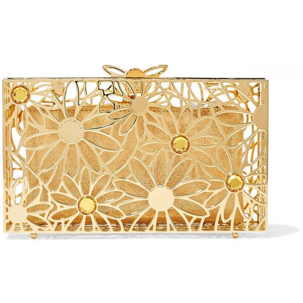 Charlotte OlympiaPandora In Bloom Crystal-embellished Gold-tone Clutch ($1,885) ❤ liked on Polyvore featuring bags, handbags, clutches, gold, sparkly purses, charlotte olympia handbags, sparkly handbags, metallic clutches and charlotte olympia