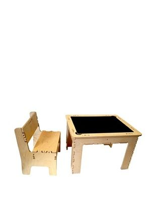 35% OFF Anatex Flip Top Dry Erase and Chalk Table with 1 Bench, Natural