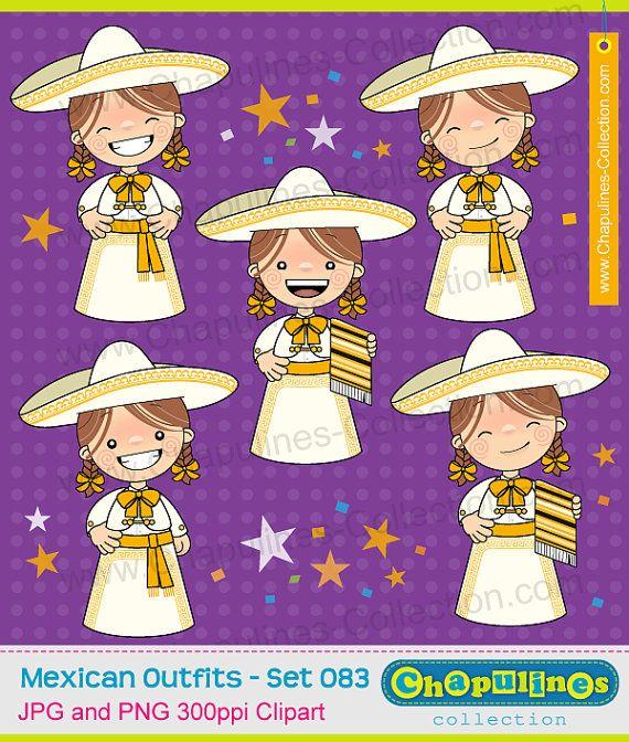 60% desc. Clipart de niñas con traje charro blanco y dorado, charra, traje típico, Independencia, Revolución Mexicana, 5 de Mayo 083