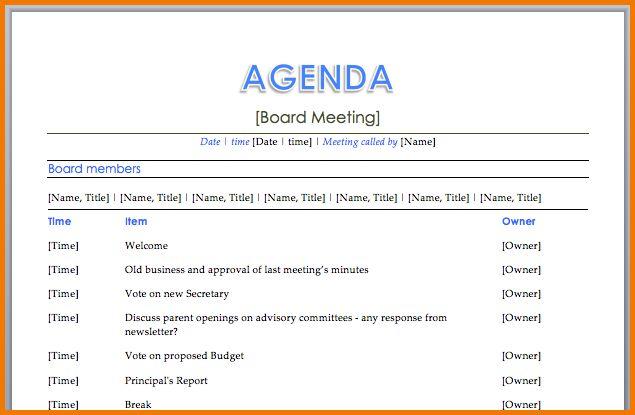 18 Free Meeting Agenda Templates | Bates On Design