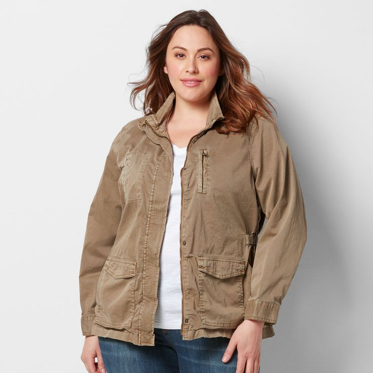 Plus Size SONOMA Goods for Life™ Solid Utility Jacket, Women's, Size: 3XL, Med Brown