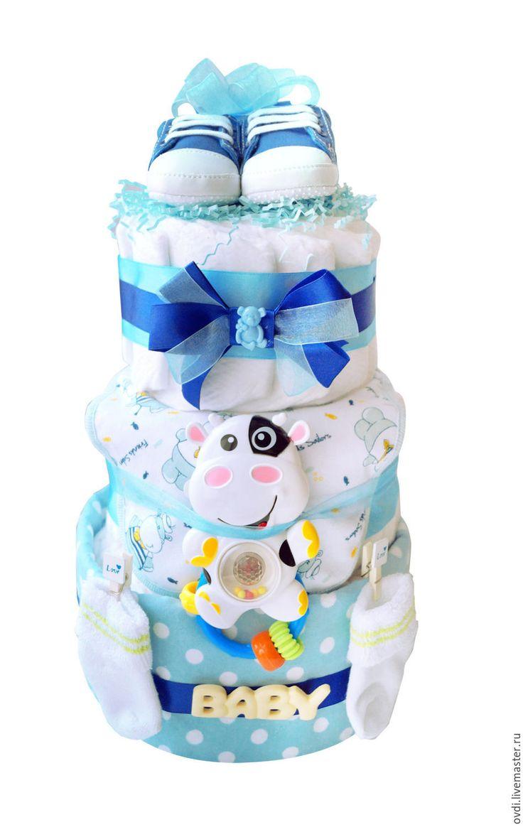 """Купить Торт из памперсов """"Light blue"""" - мальчику, малышу, подарок новорожденному, новорожденному мальчику, новорожденному"""