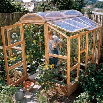 Greenhouse Getaway Are cold temperatures and a barren yard all that beckon you outside? Coax spring into your garden with this charming greenhouse.