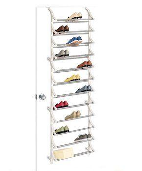 White 36-Pair Over-Door Shoe Rack
