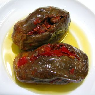 Syrian style Makdous with sun dried red pepper and walnutj
