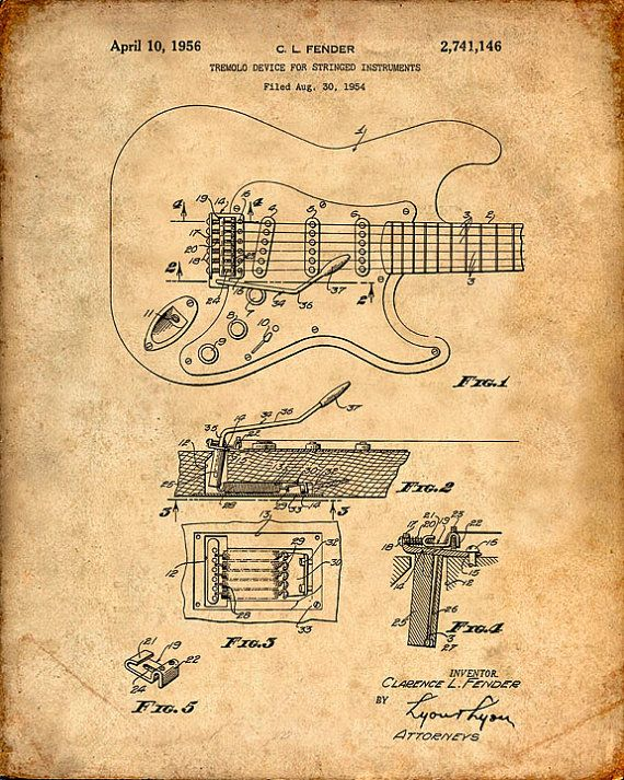 Patent Print of a Fender Guitar Pickups Patent Art Print Patent Poster