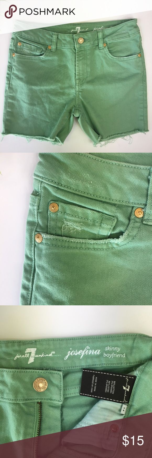 """7 FOR ALL MANKIND Girls Cut-Off Shorts {Sz 14} 7 For All Mankind Josefina jeans that have been cut into shorts. Pastel green with gold button and rivets. Zipper and button closure. Factory distressing. Perfect for back to school.  Gently Pre-Owned - No stains, tears or holes. Non-smoking household. Reasonable offers welcome!   Material: 98% Cotton, 2% Spandex  Approximate Measurements: (Taken from Seam to Seam)  Waist: 14"""" Front Rise: 8.5"""" Back Rise: 12"""" Inseam: 4"""" 7 For All Mankind Bottoms…"""