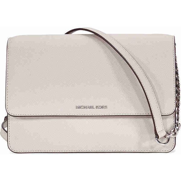 Michael Kors Daniela Leather Crossbody - Cement (€125) ❤ liked on Polyvore featuring bags, handbags, shoulder bags, michael kors purses, leather handbags, pink cross body purse, pink shoulder bag and pink leather purse