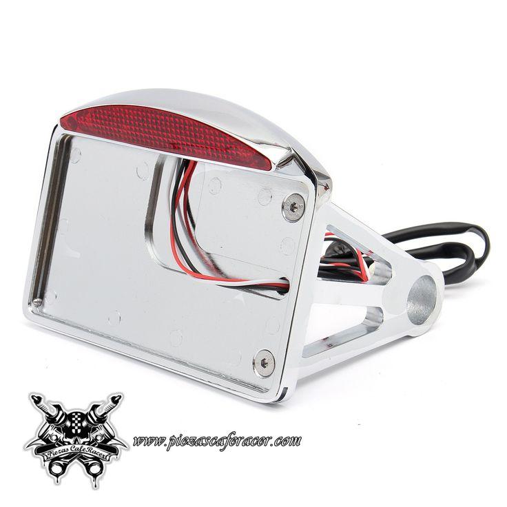 44,58€ - ENVÍO GRATIS - Soporte de Matrícula Trasero Horizontal con Luz de Freno LED Cromada Tipo Chopper Harley Davidson