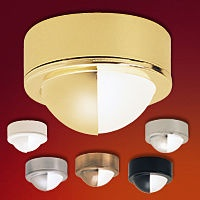 """Mini Solutions Eyelid   Die cast aluminum body and tempered frosted glass shield   Dome Shaped Metal Eyelid Enclosure   Includes 24"""" wire leads and connector   May be mounted recessed or surface (mounting bracket supplied)   UL and cUL Listed  Regular price: $26.75  Sale price: $18.75"""