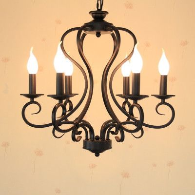 97.44$  Buy here - http://aliu0l.worldwells.pw/go.php?t=32315705521 - Black/white wrought iron chandelier light fixture 6pcs/8pcs e14 led bulb lamps America country Mediterranean Sea style