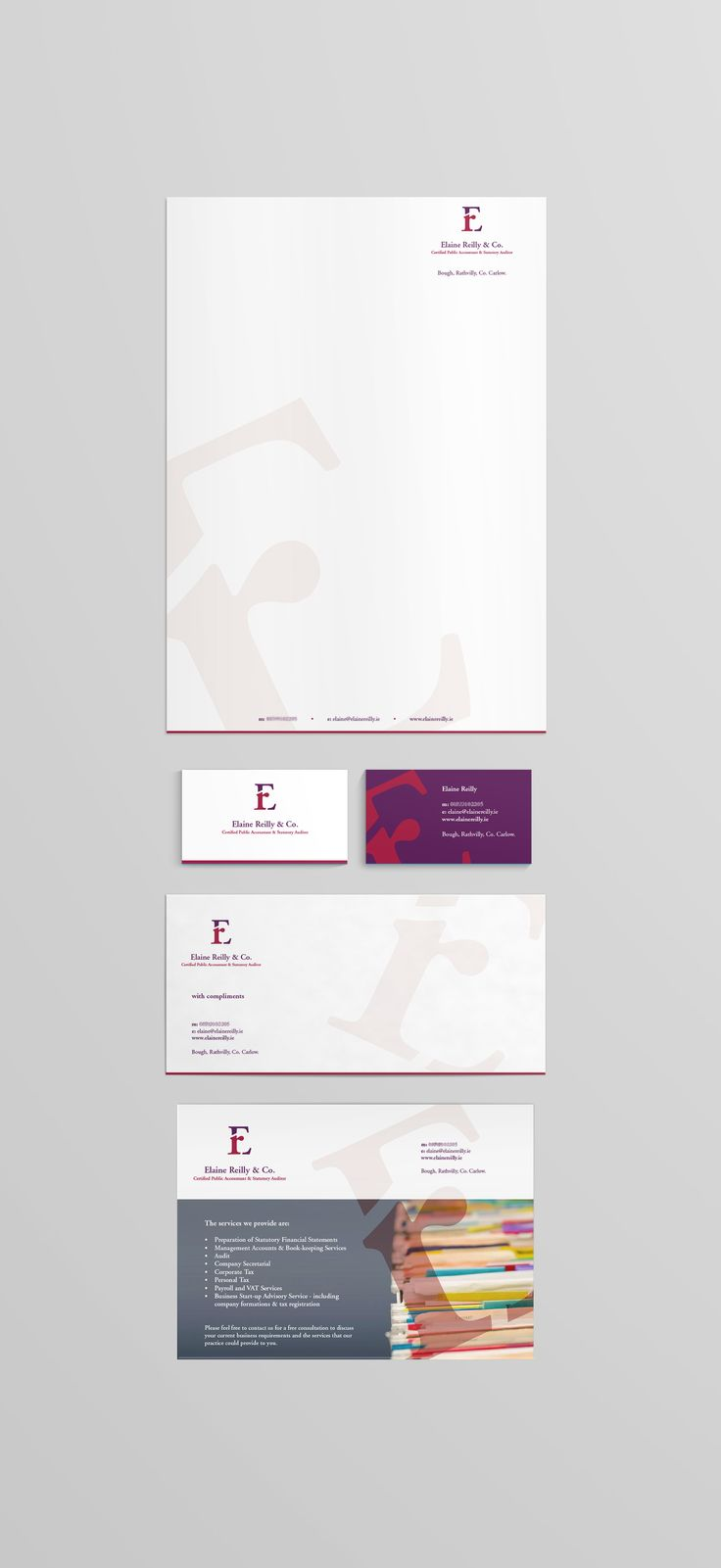 Letterhead, Business Card, Compliment Slip and Flyer for Elaine Reilly & Co. www.akgraphics.ie