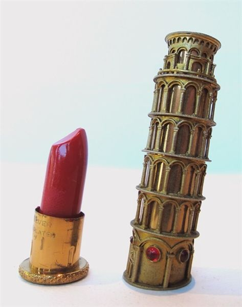 More jewelry than packaging, this 1950 Italian lipstick case (from David Weingarten's collection of souvenir buildings) was designed by jewelry designer Louis Nichilo.